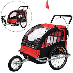 2 in 1 Double Child Baby Bike Trailer Bicycle Carrier Jogger