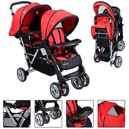 New For Baby Foldable Twin Baby Double Stroller Kids Jogger