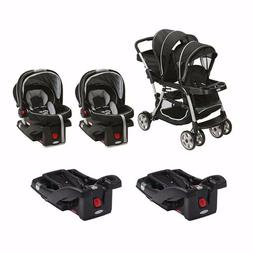 Baby Double Stroller Sit and Stand Two Car Seat Two Bases Tw