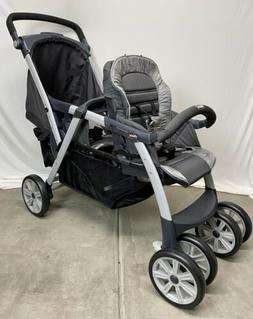Chicco Cortina Together Double Stroller Gray & Black-Open Bo