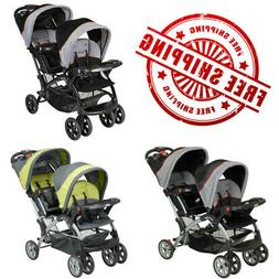 Baby Infant Double Stroller Travel System Cup Holder Sit N S