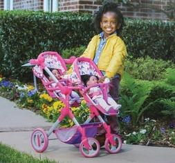 """LISSI DOLL Double Stroller  Fits Two Doll Up To 18"""" New In B"""