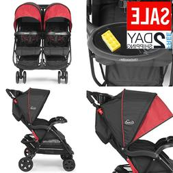 Double Stroller 5-Point Safety System 3-Tier Canopy Reclinin
