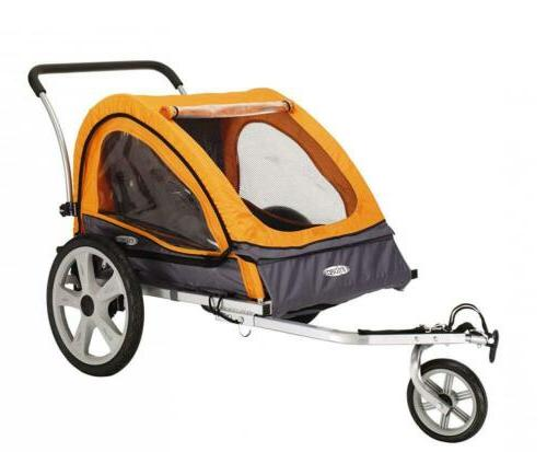 Double Child Carrier Bicycle Trailer Stroller Featuring 2-in