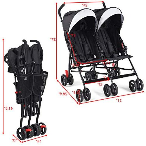 BABY Double Twin Umbrella 5-Point Harness, Sun Toddlers