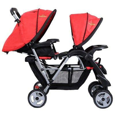 Foldable Twin Baby Stroller Kids Jogger Travel Toddler Pushchair