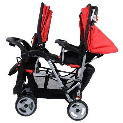 Foldable Twin Double Stroller Toddler