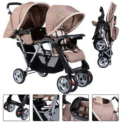 Foldable Baby Double Stroller Jogger Travel Toddler