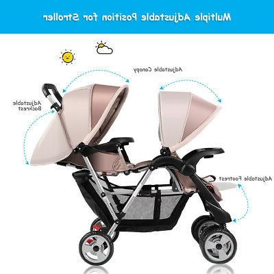 Foldable Twin Baby Double Stroller Jogger Infant Gray