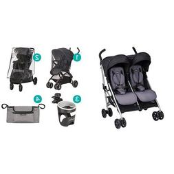 Evenflo Minno Twin Double Stroller, Glenbarr Grey with Strol