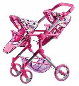 Lissi Modern Twin Doll Double Stroller White with Pink Trim