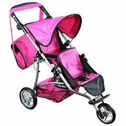 """Mommy """" Me Twin Doll Jogger 9669DL With FREE Carriage Bag To"""