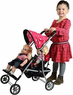 NEW Twin Baby Doll Stroller Toy For Girls Kids Pretend Play