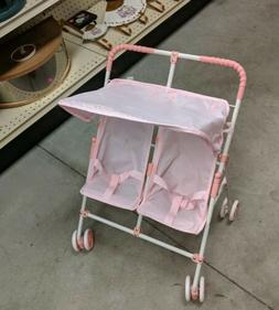 Pink Gingham Double Doll Stroller