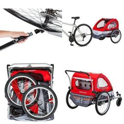 Portable Double Bicycle Trailer Kids Child Toddler Stroller