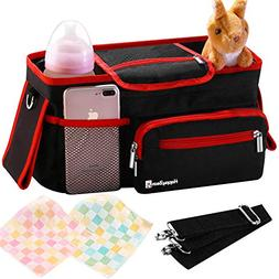 Universal Stroller Organizer Bag with Deep Cup Holders - Lar